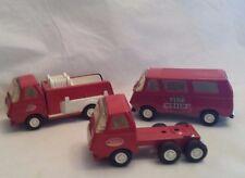 LOT 3 VINTAGE 1970's TONKA TRUCKS Fire Chief Van & Fire Truck RED METAL #55360