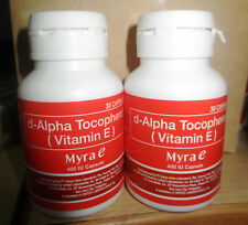 2 BOTTLES MYRA E D ALPHA TOCOPHEROL 400 IU Vitamin Food Supplement 30 capsules