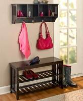 Entryway Mud Room Wall Shelf Hat Coat Rack Hall Mail Shoe Storage Bench Seat