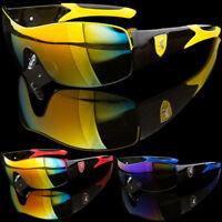 Extreme Wraparound Mens Exotic Sports Car Logo Mirror Lens Driving Sunglasses
