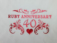 18 X RUBY 40TH WEDDING ANNIVERSARY WHITE 2PLY BUFFET NAPKINS