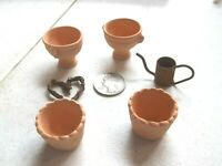 4 Dollhouse Terra cotta Clay Flower Pots Planters 1 Watering Can 1 Heart Wreath