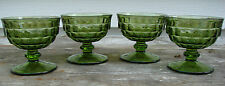 4 Vintage Indiana Whitehall Avocado Green Footed Dessert Champagne Cups Glasses