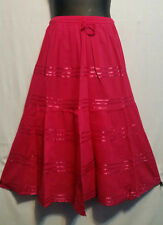 Women Clothing elastic waist Long Skirt with pull string cotton Pink Free Size