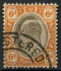 Transvaal 1902 SG#266a, 6d Black & Brown-Orange KEVII Used #D21740