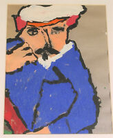 VINTAGE FOLK ART ORIGINAL PAINTING PORTRAIT OF A FRENCH MAN WITH GOATEE ABSTRACT