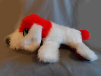 Red And White Shaggy Dog Plush Puppy Furry Carnival Prize Vintage Stuffed Animal
