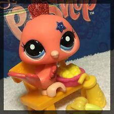 Littlest Pet Shop RARE 2259 Peach/Orange Sparkle Glitter Peacock w/ Accessories