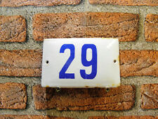 Vintage Sign House Door Number 29, White and Blue Enamel Street Sign Home Gift