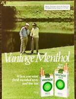 1982 Vantage Menthol Cigarettes PRINT AD Men Golfing