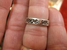 """VERY NICE LADIES/GIRLS STERLING SILVER """"LOVE YOU"""" BAND / RING, US SIZE 6, 5mm"""