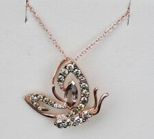 NEW 14K Rose Strawberry Gold LeVian Butterfly Chocolate Diamond Necklace