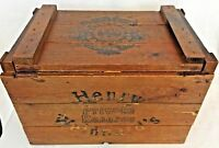 Vintage Henry Weinhard's Private Reserve Beer Wooden Box Crate With Lid