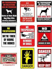 Metal Tin Warning Sign No Trespass Danger Wall Decor Home Art Poster Bar Pub Dog