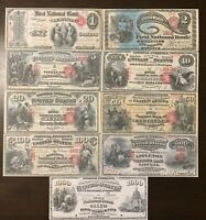 Reproduction Full Set 1875 Series National Banknotes $1-$1000 See Description