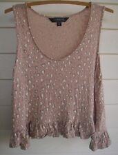 Glassons Women's Cropped Pink Grey/Purple & White Heart Print Singlet Top - Sz 8