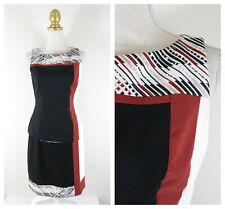 White House Black Market Black Orange White Tank Skirt Set Suit Size 8 10 Career