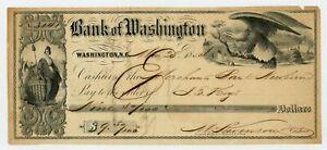 1854 $9.50 The Bank of Washington, NORTH CAROLINA Draft
