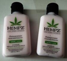 LOT of 2 Hempz Pomegranate Herbal Body Moisturizer Hydrate + Renew ~ 2.25oz each