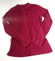 LL Bean Women's Peasant Top Size XS Red Pleated Front Long Sleeves High Collar