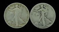 Lot of 2 Mixed Lot 50 Cent Walking Liberty Half Dollar 1927 S 1929 S US Coins