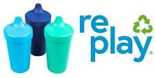 Re-Play Made in USA Toddler Feeding No Spill Sippy Cups Sky True Blue