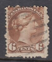 """Canada Scott #39  6 cent yellow brown """"Small Queen""""   F"""