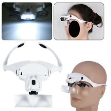 5 Lens Headband Headset Magnifier Hand Free Magnifying Glass LED Lash Extension