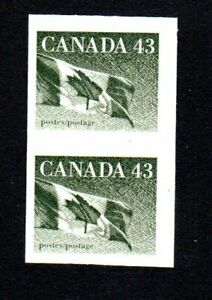 IMPERF PAIR 1992 CANADA  FLAG 43C OLIVE GREEN  1395a  SG1363 FULL GUM MNH