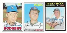 JOHN KENNEDY 3 DIFFERENT SIGNED BASEBALL CARD LOT DODGERS PILOTS RED SOX 1969