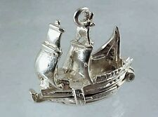 Vintage Sterling Silver Sail Boat Sailboat Charm - Opens to Reveal Cargo