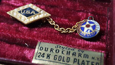 USA United States Air Corps Hat lapel pin w chain tarnished 24 K gold plating