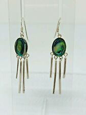 Gorgeous Real Abalone Shell Inlay Drop Earrings 925 Solid Silver #11212