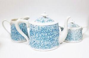 NEW 3 PC SET GRACE'S WHITE PORCELAIN+3D BLUE FLORAL COFFEE,TEA POT+CREAMER+1