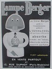 PUBLICITE LAMPE BERGER LE CONE AZOALCOOL PARFUM ANTI TABAC DE 1932 FRENCH AD PUB