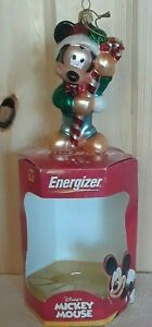 Energizer Disney Mickey Mouse Handcrafted Blown Glass 2000 Ornament