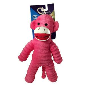 "Vibrant Life PINK SOCK  MONKEY Squeaky Fetch Chew Plush Dog Toy 9"" Cozy Buddy"