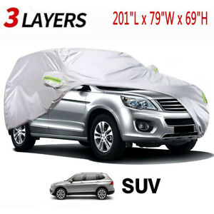 Universal SUV Fit Car Cover Snow UV Resistant All Weather Protection 3 Layers