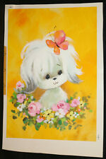 White Dog with Butterfly and Flowers Original Greeting Card Painted Art