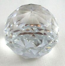 Estate Swarovski Large 60mm Round Paperweight Block Stamp Mint Condition