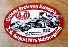 1974 EUROPEAN GRAND PRIX NURBURGRING Formula 1 Motorsport Adesivo Decalcomania