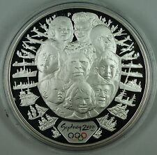 2000 Australia $5 Sea Change Proof .999 Silver 1oz Coin-Sydney Olympics