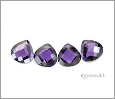 6 CZ Flat Pear Briolette 8x8mm Amethyst Purple #64615