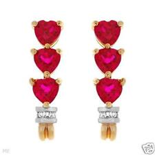 STUNNING SOLID 10K YELLOW GOLD DIAMOND AND RUBY HEART EARRINGS