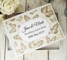 WEDDING GUEST BOOK IN BOX ~ PERSONALISED RUSTIC VINTAGE BUTTERFLY KEEPSAKE