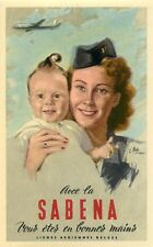 SABENA BELGIAN WORLD AIRLINES BEAUTIFUL STEWARDESS & BABY ARTIST LUGGAGE LABEL