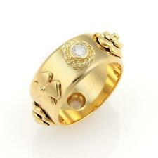 Chanel Camelia Diamonds Floral 18k Yellow Gold Band Ring - Size 6.5