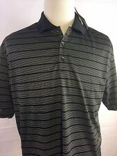 NWT Nike Golf Men's Black Striped Dri Fit Short Sleeve Polo Shirt 274038 LG