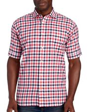 Thomas Dean Mens Red Blue Check Designer S/S Button-Front Shirt NWT $98 Size S