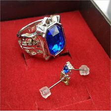 Black Butler Blue Diamond Ring+Earrings Kit Novelty Cosplay For Ciel Phantomhive